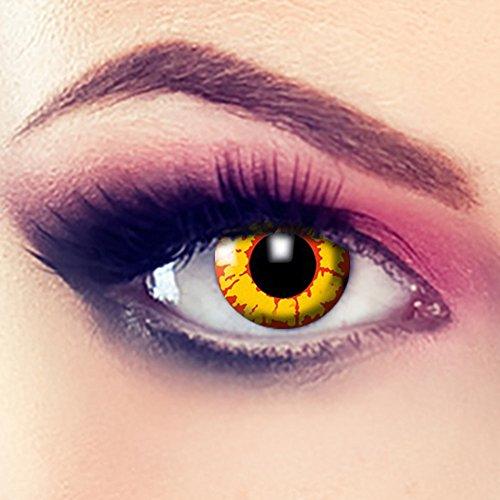Taffstyle® Farbige Linsen crazy Fun Halloween Karneval Kostüm Kontaktlinsen Motivlinsen 3 Monatslinsen ohne Stärke Gelb Feuer - Yellow Fire