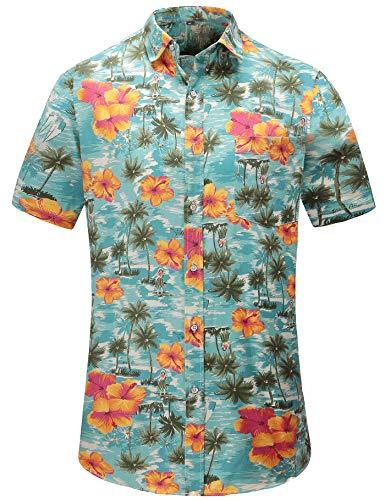Para Jeetoo Hawaïen Xxl Bleu Corta Casual Hombre Floral Manga Clásico Camisa htsxrQCd