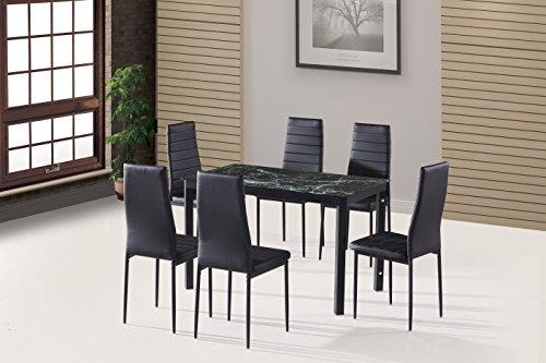 EBS® Esstisch Stuhl Set Essgruppe Tischgruppe Esstischgruppe Sitzgruppe Esszimmergarnitur: Kunstmarmor Glas Metall Esstisch 6 Kunstleder Stuhl