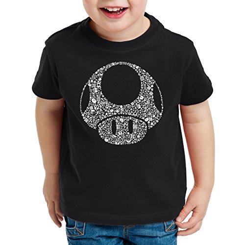 A.N.T. Super Toad Play Kinder T-Shirt Mario Pilz Game Gamer, Farbe:Schwarz;Größe:104
