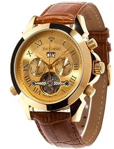 Reloj de caballero Yves Camani Yc1020-A automático, correa de piel color marrón de Yves Camani
