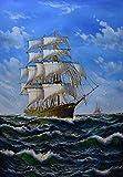 YOHAWOD Handgemalte Moderne Kunst-Malerei-Segelschiff über Wasser-Öl-Leinwand-Malerei-Moderne Wandmalerei-Bilder für Wohnzimmer
