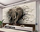 Wxlsl 3D Papier Peint Éléphant Murale Tv Mur Fond Mur Salon Chambre Tv Fond D'Écran Mural-150Cmx105Cm
