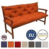 Beautissu Bankauflage Flair BR ca 150x50x50cm bequemes Bank Polster & Rücken-Kissen als Gartenbank Auflage Orange