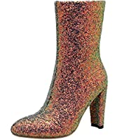 Vitalo Womens High Block Heel Glitter Ankle Boots with Zip Ladies Mid Calf Party Prom Boots Size 4.5UK,Green