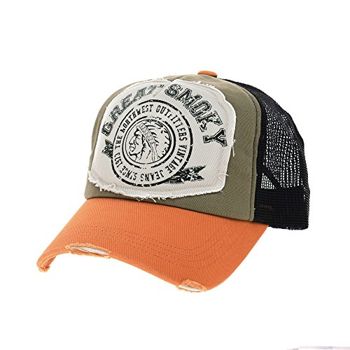 WITHMOONS Cappellini da baseball Cappello Vintage Baseball Cap Meshed Distressed Trucker Hat NC1715 (Orange)