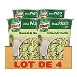 Knorr Mon Pasta Pot Repas Express Portion Individuelle Pâtes au Fromage & Brocoli, sans Colorant ni Exhausteur de Goût (Lot de 4x69g)