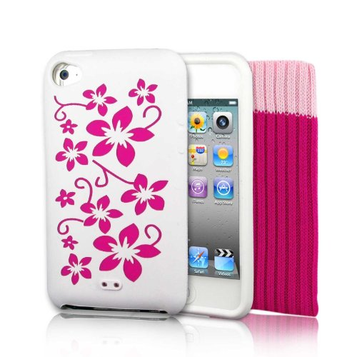 "Preisvergleich Produktbild KOLAY - ""Pink Flowers"" Silikonhülle Case Schutzhülle + Schutzsocke und Displayschutzfolie für Apple iPod Touch 4th Generation 8GB, 32GB, 64GB + Screen Protector Kit & Touch 4G Pink Sock"