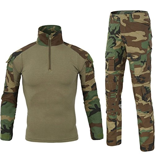 QCHENG Taktisches Hemd Militärhemd und Hose Airsoft Männer Langarm BDU Combat Camouflage Camo Kampf T-Shirt für Tactical Paintball Uniform Armee (Grün M) - Combat Uniform