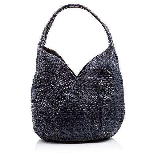 FIRENZE ARTEGIANI.borsa shopping bag donna vera pelle.Borsa vera pelle cuoio inciso motivi trecce geometrico e laccato. MADE IN ITALY. VERA PELLE ITALIANA. 33x33x18 cm. Color: BLU