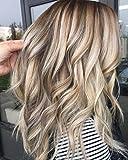 LaaVoo 18zoll/45cm 130% Peruvian Heat Resistant Wig with Lace Front Free Part Perucken Hellbraun Highlights Platin Blonde Locken Extension Perucke Echthaar Damen