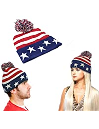 CommercioEuropa Cappellino Invernale Unisex - USA Star and Stripes - Pon Pon 9263820994a7