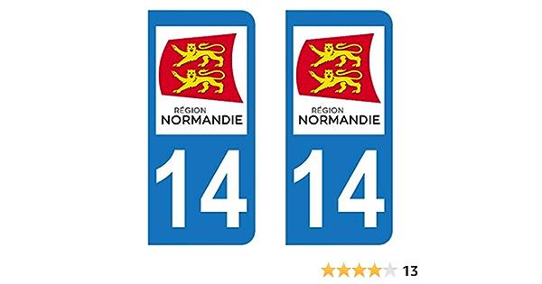 Supstick 4 Stickers Autocollants Plaques Immatriculation Auto Dept 76 Normandie Noir Angles Arrondis