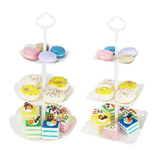 hetoco 3-Tier-weiß Kunststoff Dessert Ständer Gebäck Ständer Kuchen Ständer Cupcake-Ständer Halterung Servierplatte für Party Hochzeit Home Decor (Set von 2) weiß