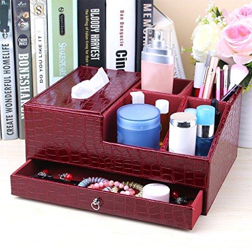 MMM Leder Papiertuch-Kasten Zeichenpapier Kreative Europäische Desktop-Kosmetik Storage Box Skin Care Products ( Farbe : Rot )