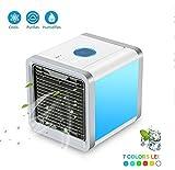 Mobiles Klimageräte LoiStu Air Cooler mit Wasserkühlung Zimmer Raumentfeuchter Mini Klimaanlage ohne Abluftschlauch für Büro, Hotel, Garage, 3 Kühlstufen - 7 Stimmungslichter
