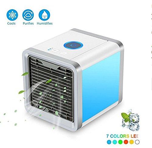 Climatiseur Portable - LoiStu Ventilateur USB Muitifonction 3 EN 1 Mini Climatiseur Humidificateur Purificateur 7 LED Couleurs pour...