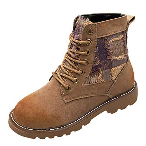 Stiefel Damen,Round Toe Martin Stiefel Lace-Up High Heel Schuhe Wild Retro Stiefeletten,Binggong...