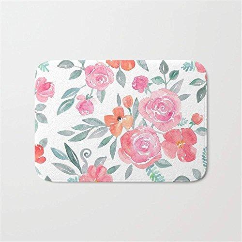 EJjheadband Amelia Floral in Pink and Peach Watercolor Doormat Bath Door Mat (15.7 x 23.6 Inches) Amelia Slip