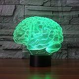 3D Lamp, EONANT 3D Night Lights LED USB Touch mit 7 Color Optical Illusion Schreibtischleuchten für Kinderzimmer Home Decoration (Brain)