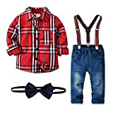 Nwada Bambini e Ragazzi Completi e Coordinati Abiti e Giacche Blazer Camicie e Giarrettiere Pantaloni Jeans Cravatta a Farfalla Set di Vestiti Plaid Rosso 1-2.5 Anni
