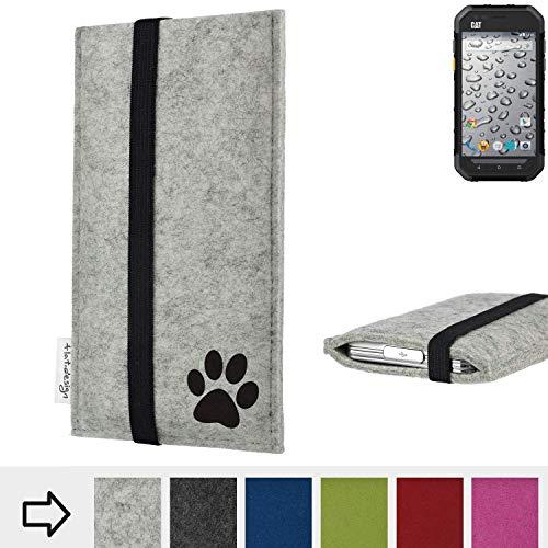 flat.design Handy Hülle Coimbra für Caterpillar Cat S30 individualsierbare Handytasche Filz Tasche fair Hund Pfote tatze