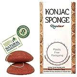 Éponge Konjac visage Bio - Enrichie à l'Argile Rouge - vegan exfoliante - biodégradable - Lot de 2