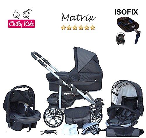 Chilly Kids Matrix II Kinderwagen Safety-Mega-Set (Winterfußsack, Sonnenschirm, Autositz & ISOFIX Basis, Regenschutz, Moskitonetz, Schwenkräder) 30 Schwarz & Grafit