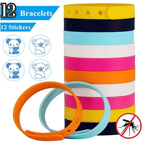Actopp braccialetto antizanzare in silicone, 12 pezzi braccialetti repellente anti insetti naturale al 100% senza deet per viaggio montagna spiaggia giardino outdoor indoor 6 colori