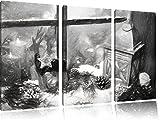 weihnachtlich dekoriertes Fensterbrett Kunst Kohle Effekt 3-Teiler Leinwandbild 120x80 Bild auf Leinwand, XXL riesige Bilder fertig gerahmt mit Keilrahmen, Kunstdruck auf Wandbild mit Rahmen, gänstiger als Gemälde oder Ölbild, kein Poster oder Plakat