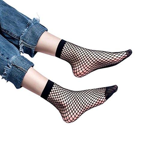 Socken Longra Damen Mädchen Socken Spitze Netzstrümpfe Netz Plain Top-kurze Söckchen stilvolle (B) (Diabetiker-kleid-socken)