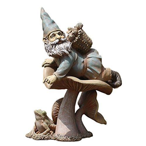 Napco Zwerg auf Fliegenpilz 27,9cm Kunstharz Deko Indoor Outdoor Garten Statue Figur