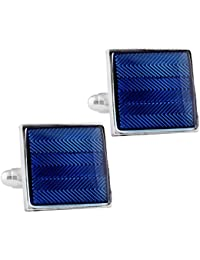 TRIPIN Cufflinks for Men Branded Silver Blue Rectangle Shape for Office Corporate Wedding Party French Cuff Shirts Shirt Suit Blazer in A Gift Box