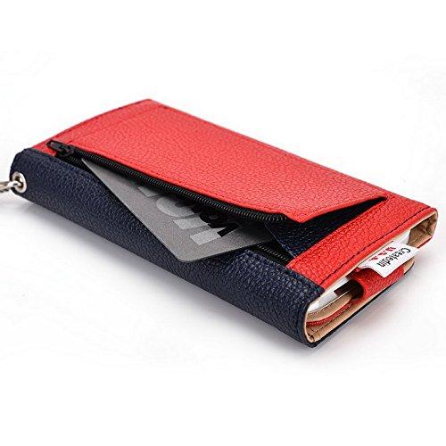 Kroo Pochette Téléphone universel Femme Portefeuille en cuir PU avec sangle poignet pour Yezz ANDY c5vp/c5ql Multicolore - Orange Stripes Multicolore - Blue and Red