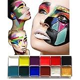 our fantasy time 12farbige Gesicht/Körper Malerei Farbepallete, Körperkunst Körpermalfarben, Make Up Schminke Palette, Facepainting, Bodypaint, Bodypainting, für Halloween,