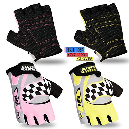 Children Cycling Gloves Padded Kids Bicycle BMX Half Finger MTB Cycle Gloves Kids Cycling Protective Gear (Pink, XXXXS = 6.5