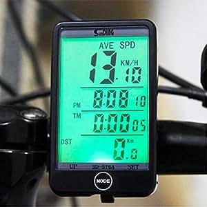 Flamebox - Large Easy to Read Display Waterproof Cycle Computer Bicycle Speedometer Multifunction Odometer - Automatic Motion Sensor Wakeup Backlit LCD (Black)