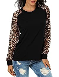 08cfa5ed6fa65 ZANZEA Women s Sexy Casual Long Sleeve Chiffon Round Neck Leopard Print  Tops Blouse T-Shirt