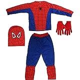 Fancyflight Spiderman Dress + Glove +Mask Costume for Boys (2-3 Years)