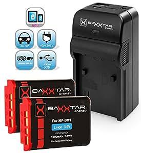 Baxxtar RAZER 600 chargeur 5 en 1 + 2x Baxxtar Batterie pour Sony NP-BX1 (1090mAh) -- NOUVEAU avec entrée micro USB. Sortie USB pour charger simultanément un troisième dispositif (GoPro, GoPro à distance, iPhone, tablette, smartphone, etc ..) pour Sony CyberShot DSC RX100 RX100 II RX100 III RX100 IV M4 RX1 RX1r HX50 HX50V HX60 HX60V HX80 HX80V HX90 HX90V HX350 ... et tous les autres, avec la batterie d'origine Sony NP-BX1