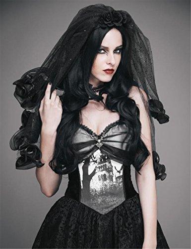 (ELEGENCE-Z Europäische und Amerikanische Braut Black Rose Veil Punk Hochzeit Kopfschmuck COS Zeigen Kostüm Zubehör (63 cm))