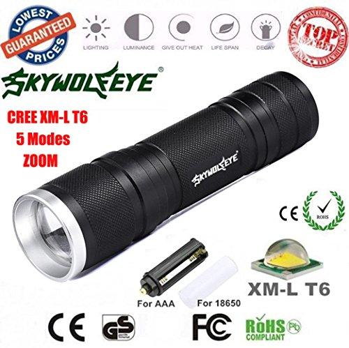Mitlfuny Cree XML-T6 LED Zoom 8000LM Taschenlampe Focus Fackel Lampe 26650/18650/AAA Licht- ideal für Camping, Wandern und Spaziergang mit Hunde (Schwarz)