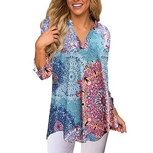 T-Shirt Bluse Damen Shirt Xjp Frauen Mode V-Ausschnitt Gedruckt Vintage Lose Oberteile Bauchfrei Unregelmäßig 3/4 Ärmel Tunika Tops Hemd(S, Multicolor) - Ärmel Gedruckt Tunika