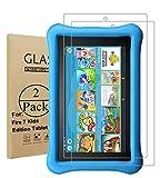 Seama Panzerglas Schutzfolie für Fire Kids Edition(7 Zoll)[2 Stück], Premium Hartglas Bildschirmschutz für Fire Kids Edition(7 Zoll) mit Einer Härte von 9H & Einfacher Anbringung