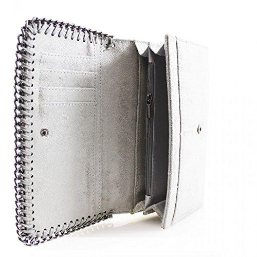 LeahWard® Damen Synthetik Leder Kette Klappe Geldbörsen Brieftasche Für Sie Zum Damen Schwarz