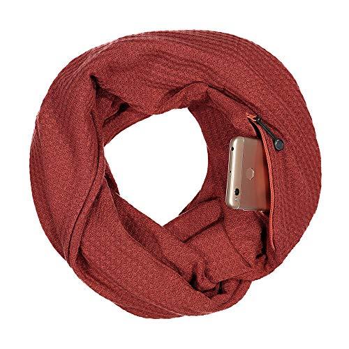 CADeN Pocket Scarf Infinity Schal versteckter Reißverschluss Aufbewahrungstasche leichtes Warm bleiben weiches Wickel-Lätzchen für Smartphone Lippenstift Passport (Brick Red ) (Kinder Infinity-schals)