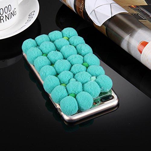 Hülle für iPhone 7 plus , Schutzhülle Für iPhone 7 Plus 3D Pelz Bälle Muster TPU Schutzhülle ,hülle für iPhone 7 plus , case for iphone 7 plus ( Color : Beige ) Green