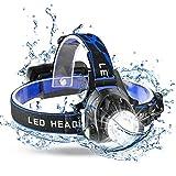 MKROYO Torcia Frontale Lampada?Frontale LED USB Ricaricabile 6000 Lumen Luce Frontale Zoomabile 3 modalità Torcia da Testa per Campeggio, Corsa, Speleologia, Pesca, Ciclismo