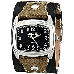 EOS New York Unisex 92LBLKGRY Fuse Two Tone Leather Strap Armbanduhr