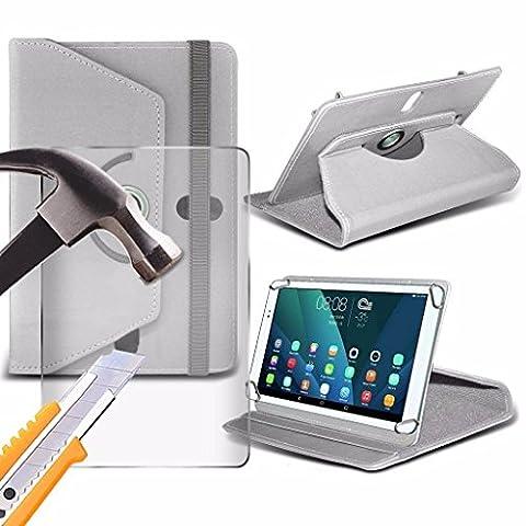 Spyrox - Acer Iconia W510 (10.1 inch) Housse pour tablette PREMIUM PU 360 Portefeuille en cuir tournant Folio Faux 4 Pieds avec support en verre trempé Protecteur d
